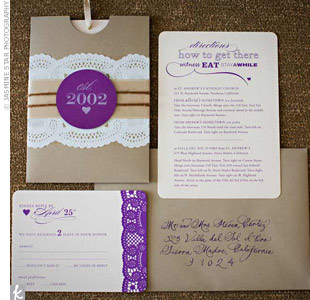 The bride and groom created their own vintage-inspired wedding invitations.