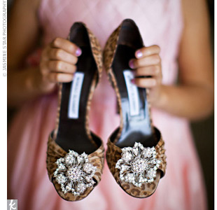 To give her animal-print Manolos an antique feel, the bride added brooches.