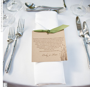 An olive-green border and an oatmeal-colored underlay made the menu cards look polished.
