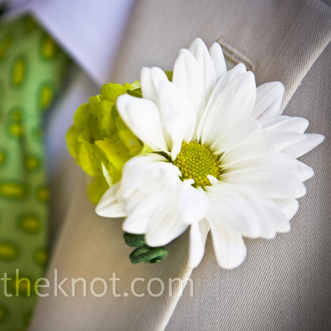 The groomsmen wore white daisies and green hydrangeas on their lapels.