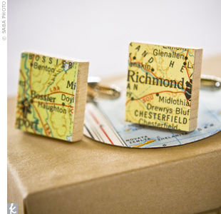 Amy used small pieces of maps to make Josh a special pair of wedding day cufflinks, representing their hometowns of Richmond and Bossier City.