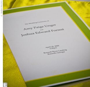 The RSVP cards inspired the simple white programs trimmed in a yellow-and-green border.