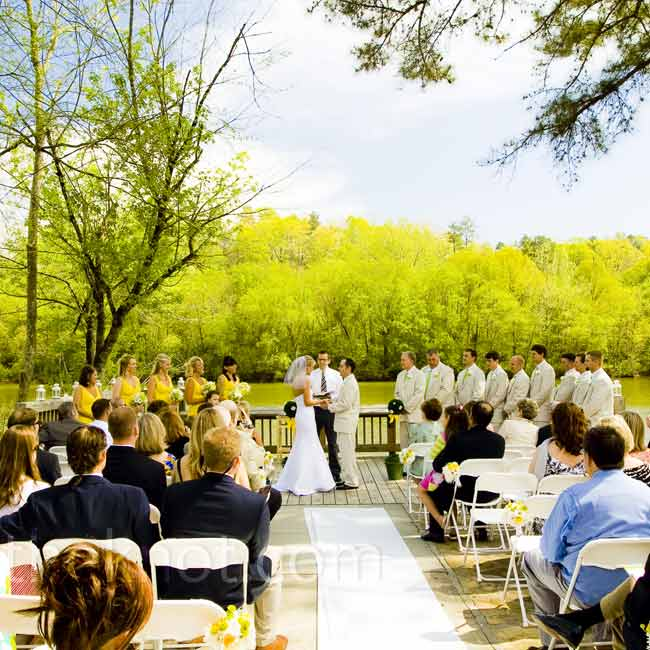 Amy and Josh exchanged vows on a deck overlooking the Chattahoochee River.