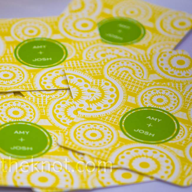 Guests placed their drinks on fun green-and-yellow coasters, which were personalized with the couples' names.