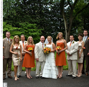The maid and matron of honor wore persimmon dresses, while the rest of the ladies wore champagne. Brett and half of the men wore khaki linen while the others donned summer suits.