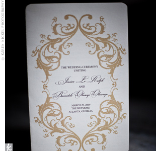 Jessica made the ceremony programs herself, mirroring the same scroll design used in the reserved seating and scripture cards.