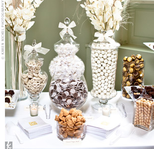 The bride and groom treated guests to a lavish dessert bar filled with their favorite childhood treats.