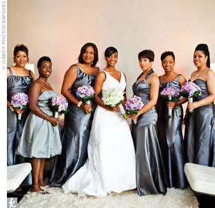 Each bridesmaid chose a taffeta charcoal-colored dress that flattered her figure and represented her individual style.