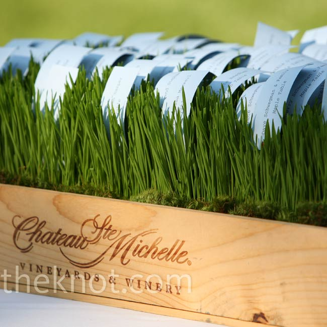 The bride and groom printed their guests' names on blue paper and displayed them in a wooden wine crate filled with wheatgrass.