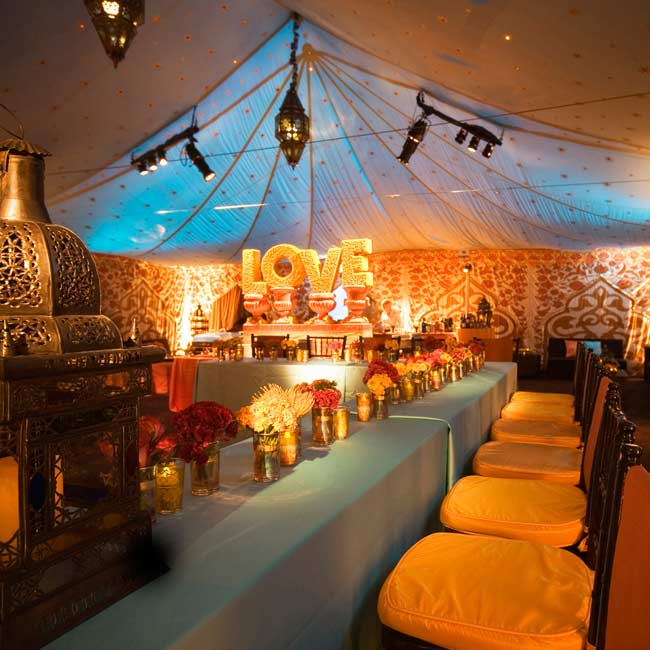 Mix-and-match patterns on tent liners create an eclectic atmosphere.