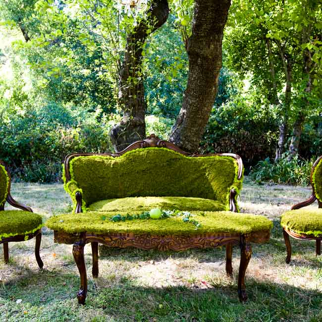 Want an original look for an outdoor wedding reception? Try quirky décor, like this living room set Alison covered in moss for a whimsical, organic look.