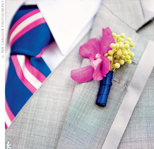 For a streamlined look, the guys' orchid boutonnieres matched the girls' bouquets.