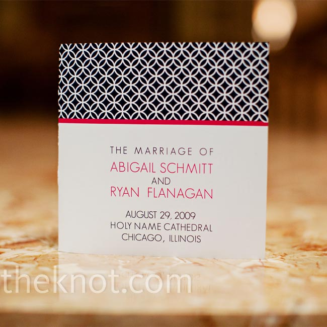 The contemporary wedding invitation design mimicked the rest of Abby and Ryan's wedding stationery.