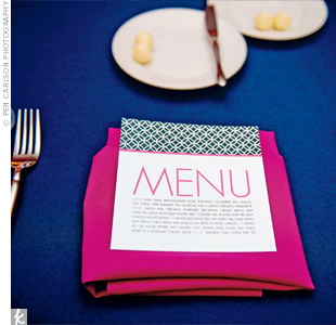 Inscribed in a vibrant font, the menu cards became part of the décor.