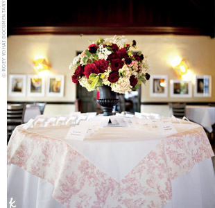 Because it was the first thing guests saw, the escort card table, with its pink toile cloth and lush floral arrangement, set the tone for the entire day.
