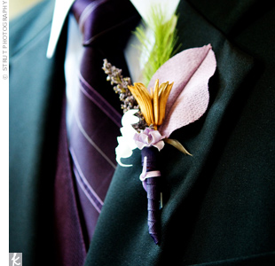 More DIY! Dean and his groomsmen pinned boutonnieres made with silk and dried flowers, beads, ribbon, and feathers to their lapels.