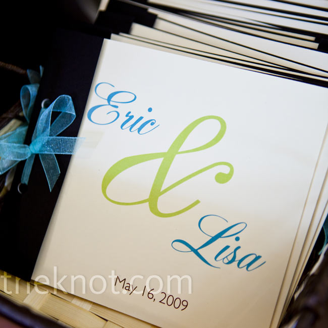 Lisa's designer friend helped with the programs. Inside, the couple listed local activities so guests knew where to kill time between the ceremony and the reception.