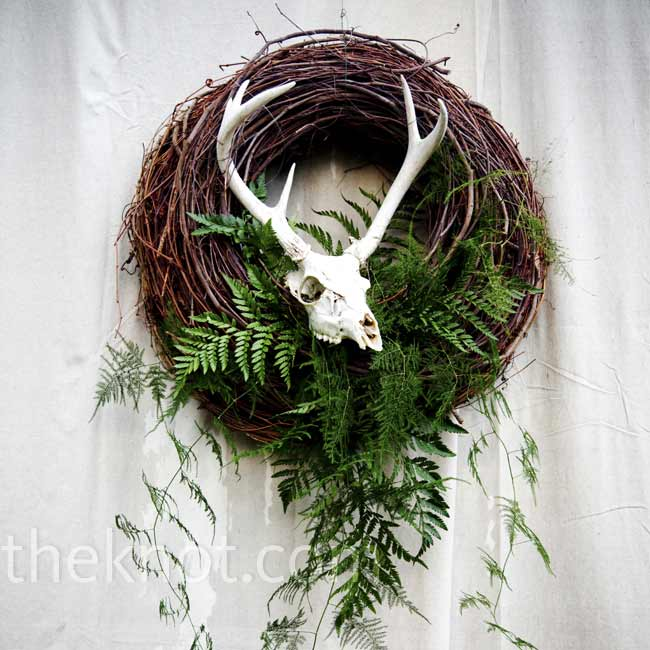 A bleached skull with antlers added country-Western flavor to Jennifer and Cliff's reception tent.