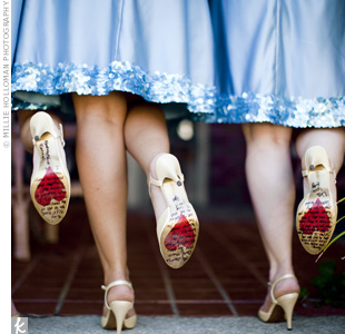 Harley bought her three bridesmaids matching T-strap ivory shoes and wrote heartfelt personal messages on the bottom of them.