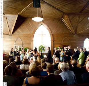 The bride's family church in Atkinson was the perfect spot for the couple's hometown wedding.