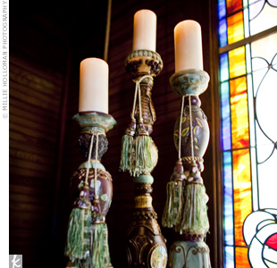Harley and Duane were married in the early evening, just before the sun set. The church was lit only by candlelight, flickering from hand-painted candle sticks.