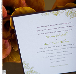 A nod to the wedding's fall date and outdoor venue, simple white cards were dressed up with a leaf design printed in the same green ink as the couple's names.