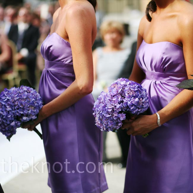 All of Abby's bridesmaids held bundles of fresh purple hydrangeas to match their dresses.