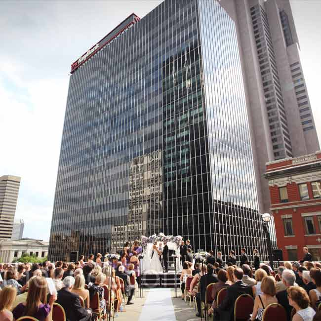 The couple's number-one goal was to show off the city they love. With a view of downtown Columbus from their ceremony space, Abigail and Dustin did just that.