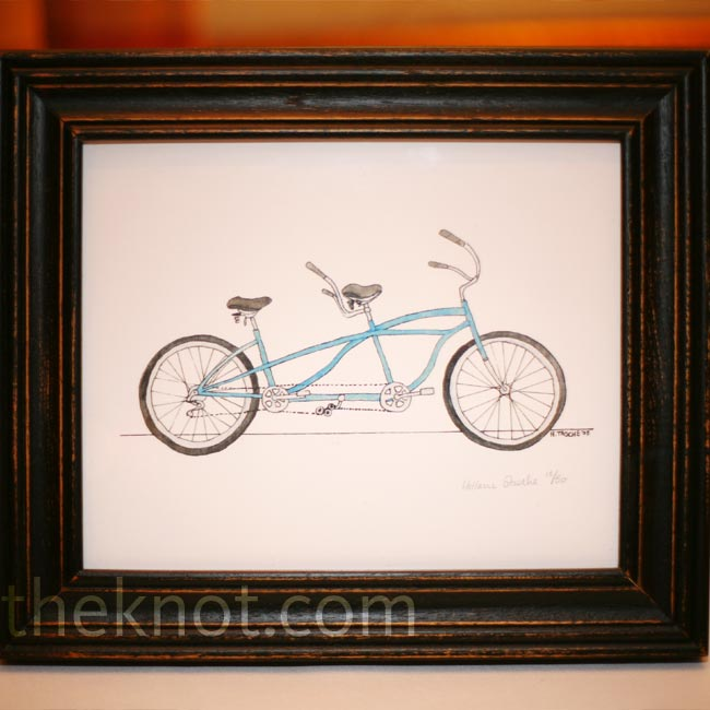 Instead of having traditional table numbers, each table was marked with a different bicycle illustration.