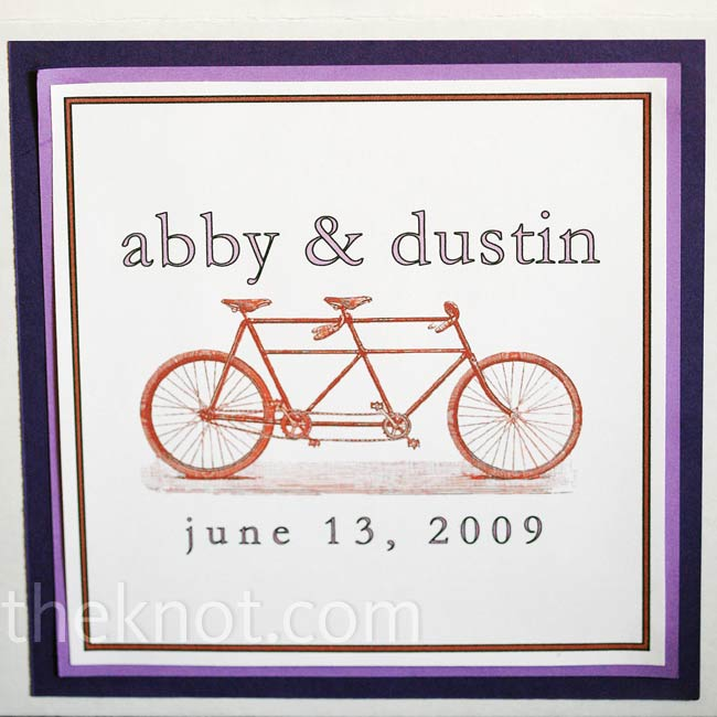 Abby's mom spent hours making welcome gifts for all the guests. The purple boxes, labeled with red tandem bicycles, were filled with snacks and even Advil for the next morning.
