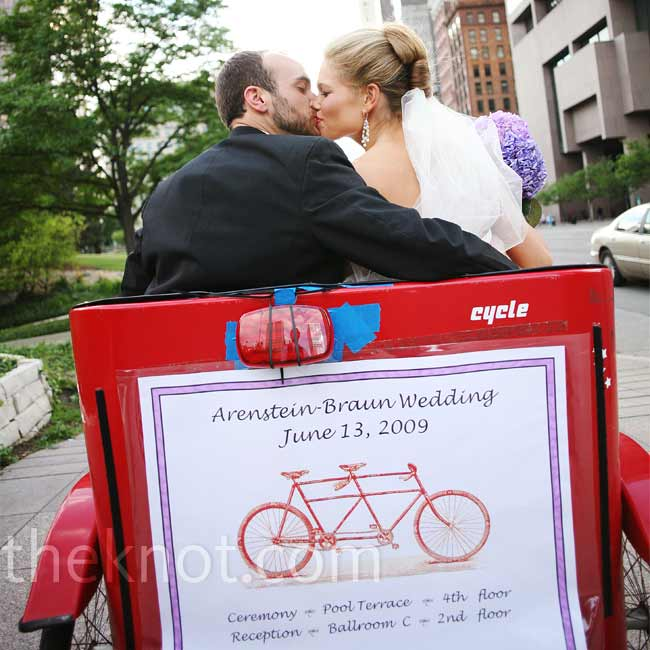 Keeping with their bicycle theme, Dustin surprised Abby with pedicabs to bike them and their families around the city for photos after the ceremony.