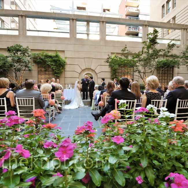 The courtyard of the Westin Grand provided a cozy, private spot for the couple's garden-style wedding.