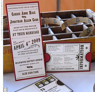 The couple's invitations were cute replicas of old amusement park signs, while the RSVPs were made to look like amusement park ride tickets.