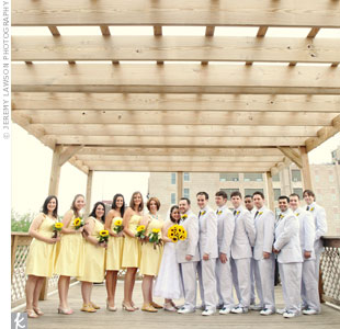 Robyn's bridesmaids wore yellow sundresses that were as casual as the groomsmen's seersucker suits.