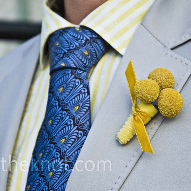Yellow craspedia and ribbon were as playful as the groom's shirt and tie.