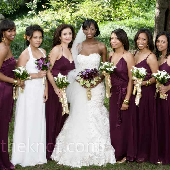 The women chose from a few different styles of silk-chiffon gowns all in the same eggplant hue to coordinate.