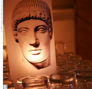 Candles lit up graphics of gods and goddesses to play up the theme.