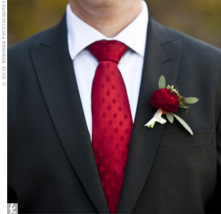 A red ranunculus was a perfect match to Eric's dotted tie.