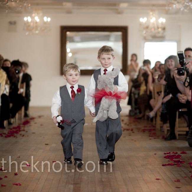 Instead of pillows, the bride's nephews carried the rings on stuffed animals—gifts the couple got each other to take with them when they were away.