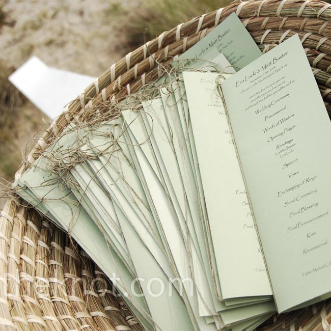 A beachy alternative to ribbon, brown twine held the programs together.