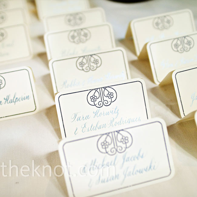 A sophisticated graphic tied in the seating assignments with the other stationery, while calligraphed guest names were extra-elegant.