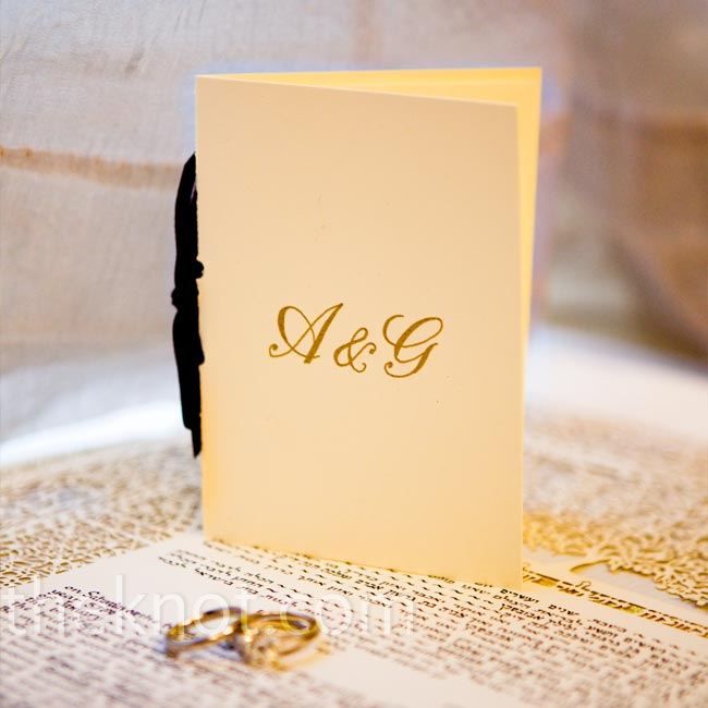 The couple's gold monogram and a black velvety ribbon were the only accents to the simple, but elegant, programs.