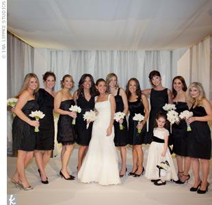 "Alison told her bridesmaids to wear any short black dress they wanted! ""I thought they all looked beautiful,"" says the bride."