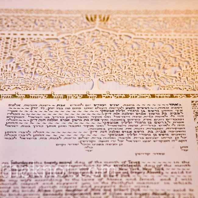 The couple signed a ketubah, a marriage contract, before their traditional Jewish ceremony.