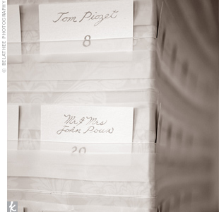 Rebecca's grandfather calligraphed the escort cards, which lined up around a Styrofoam box covered in wallpaper that matched the damask-printed stationery.