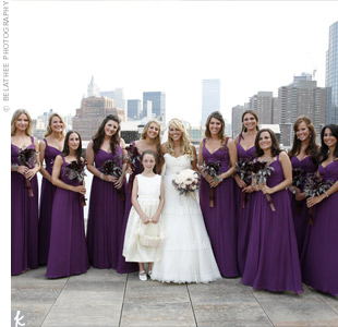 Rebecca loved the bright and summery color of the Melissa Sweet bridesmaid gowns. The floor length upped the formality of the style.
