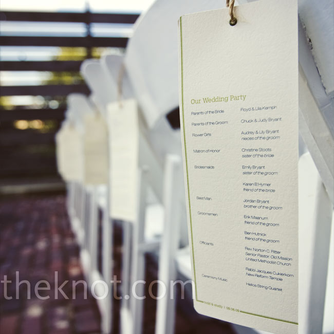 Shelly and Todd created their ceremony programs, which picked up the moss green print from the invitations. They threaded jute through eyelets at the top of the programs and hung them from the backs of the chairs for the ceremony.