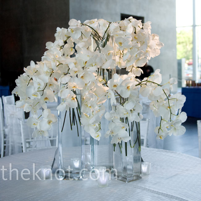 Because the reception venue was such a modern space with tall ceilings, Kate chose single statement centerpieces. Each table was adorned with clear glass vases overflowing with orchids.
