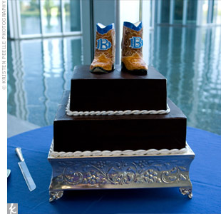 Brice's cake was half red velvet and half dark chocolate. The topper, a pair of boots, is a replica of the pair he had custom made with the Dallas Baptist University (Brice's alma mater) emblem on the front.