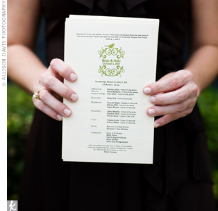 Holly and Brian designed their programs themselves and had them printed at Kinkos. Holly then stamped them so that they matched the rest of the monogrammed items at the wedding.